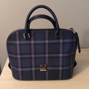 Dooney & Bourke Plaid Satchel • Blue/Purple